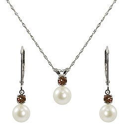 Pearls For You FW Pearl and Garnet Jewelry Set