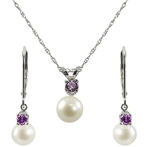 Pearls For You Freshwater Pearl and Amethyst Necklace and Earring Jewelry Set (6-6.5mm)