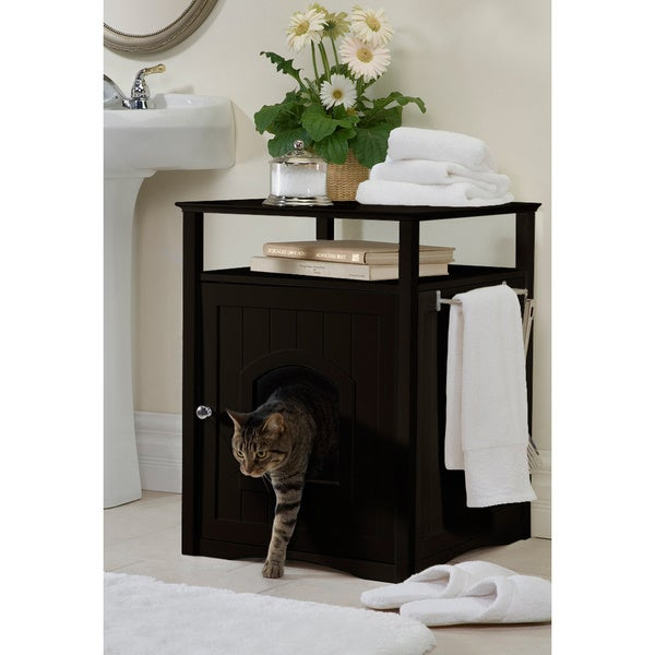 Merry Products Kitty Espresso Comfort Room Hidden Litter Cat Box Furniture