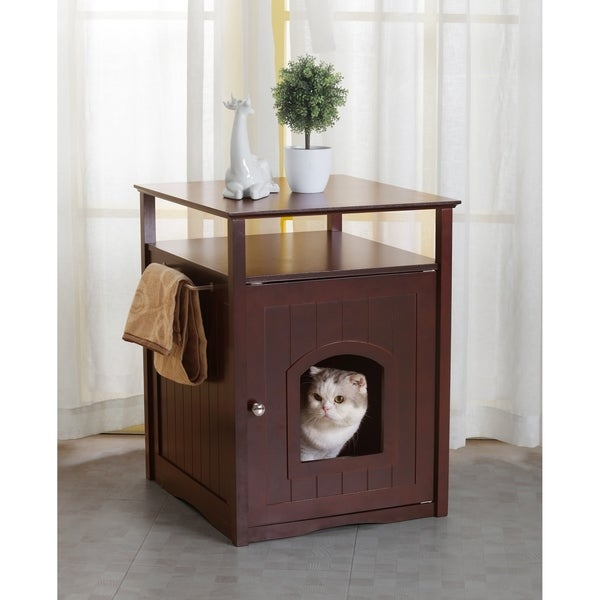Merry Products Comfort Room Espresso Finish Hidden Litter Box Cat Furniture
