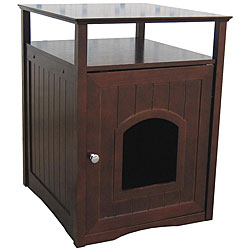 Kitty Walnut Finish Hidden Litter Box Furniture Room