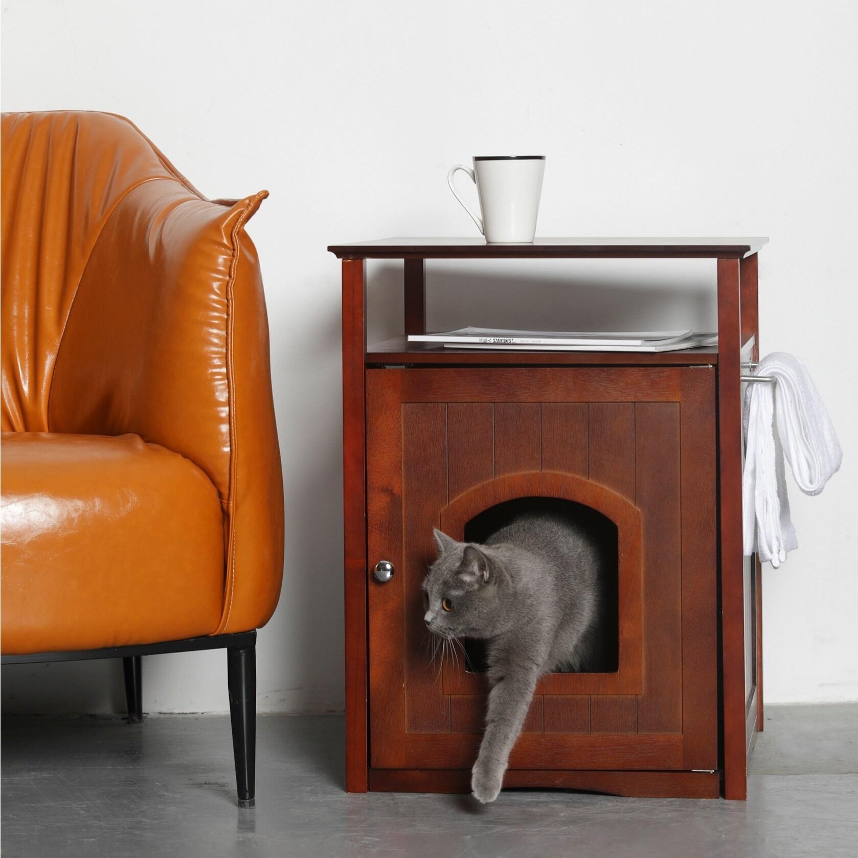 Merry Products Kitty Walnut Finish Hidden Litter Box Furn...