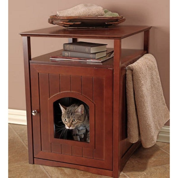Merry Products Kitty Walnut Finish Hidden Litter Box Furniture Room
