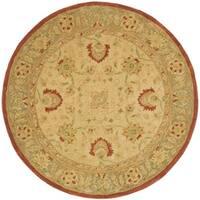 Safavieh Handmade Anatolia Oriental Oushak Ivory/ Grey Hand-spun Wool Rug - 4' x 4' Round
