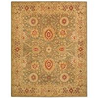 Safavieh Handmade Anatolia Oriental Sage Green/ Ivory Hand-spun Wool Rug - 9'6 x 13'6