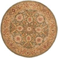Safavieh Handmade Anatolia Oriental Sage Green/ Ivory Hand-spun Wool Rug (6' Round) - 6' Round