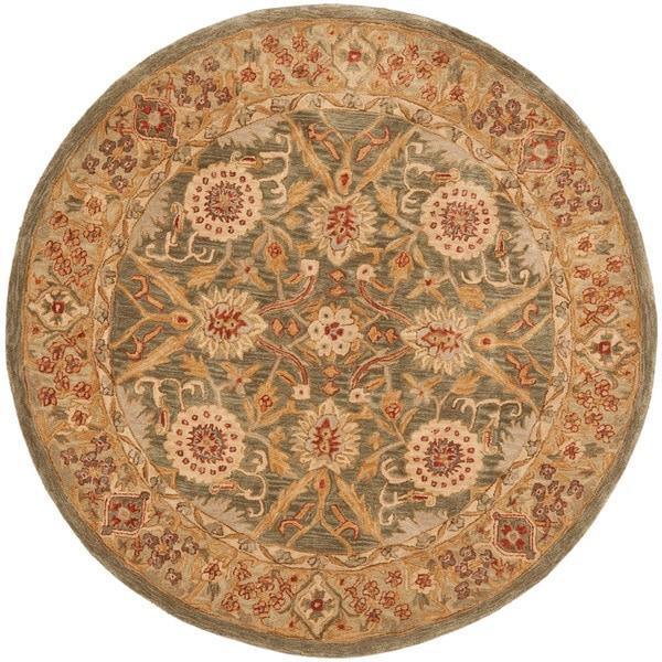 Safavieh Handmade Anatolia Oriental Sage Green/ Ivory Hand-spun Wool Rug (6' Round)