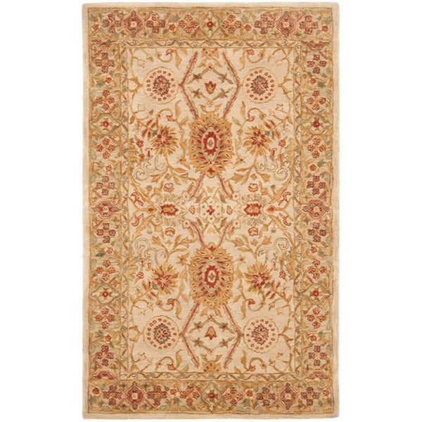 Safavieh Handmade Anatolia Oriental Grey Beige/ Sage Green Hand-spun Wool Rug (5' x 8')