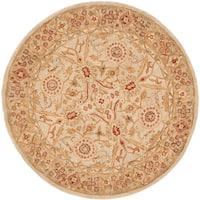Safavieh Handmade Anatolia Oriental Grey Beige/ Sage Green Hand-spun Wool Rug (6' Round)