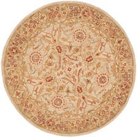 Safavieh Handmade Anatolia Oriental Grey Beige/ Sage Green Hand-spun Wool Rug - 8' x 8' Round