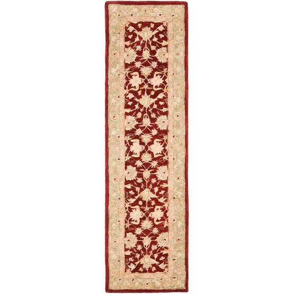 Safavieh Handmade Anatolia Oriental Red/ Green Hand-spun Wool Runner (2'3 x 10')