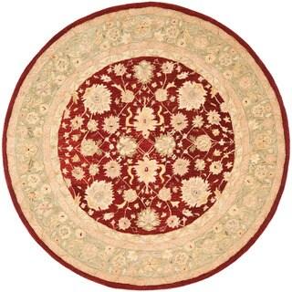 Safavieh Handmade Anatolia Oriental Red/ Green Hand-spun Wool Rug (8' Round)