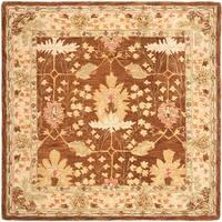 Safavieh Handmade Anatolia Oriental Oushak Brown/ Beige Hand-spun Wool Rug - 6' x 6' Square