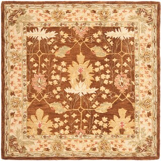 Safavieh Handmade Anatolia Oriental Oushak Brown/ Beige Hand-spun Wool Rug (8' Square)