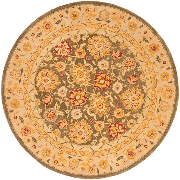 Safavieh Handmade Anatolia Oriental Farahan Olive Grey/ Beige Hand-spun Wool Rug (4' x 4' Round)