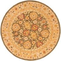 Safavieh Handmade Anatolia Oriental Farahan Olive Grey/ Beige Hand-spun Wool Rug (8' Round) - 8' Round