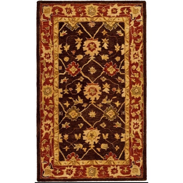 Safavieh Handmade Anatolia Oriental Kerman Olive/ Rust Hand-spun Wool Rug (4' x 6')