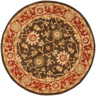 Safavieh Handmade Kerman Olive/ Rust Wool Rug (8' Round)