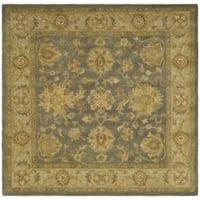 Safavieh Handmade Antiquities Jewel Grey Blue/ Beige Wool Rug - 6' x 6' Square