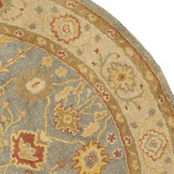 Safavieh Handmade Oushak Slate Blue/ Ivory Wool Rug (8' Round)