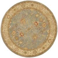Safavieh Handmade Oushak Slate Blue/ Ivory Wool Rug - 8' x 8' Round