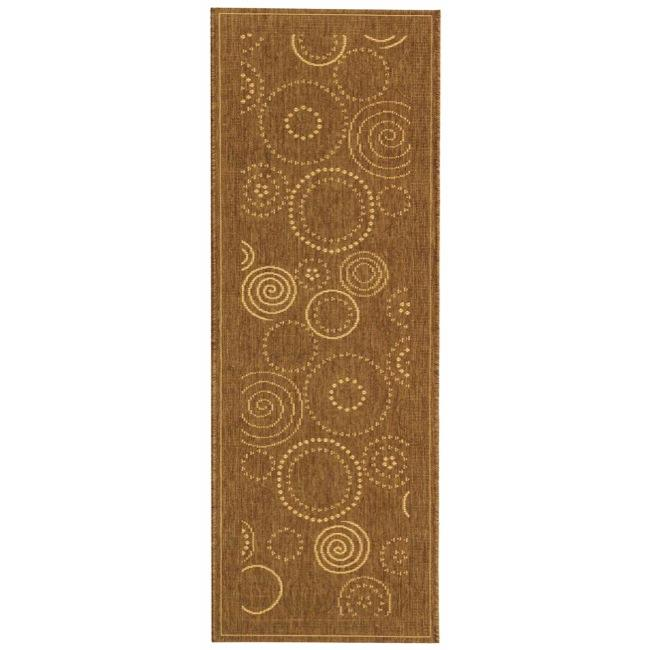 Safavieh Ocean Swirls Brown/ Natural Indoor/ Outdoor Runner (2'4 x 9'11) - Thumbnail 0