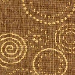 Safavieh Ocean Swirls Brown/ Natural Indoor/ Outdoor Runner (2'4 x 9'11) - Thumbnail 2