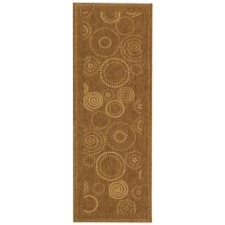 Safavieh Ocean Swirls Brown/ Natural Indoor/ Outdoor Runner (2'4 x 9'11) - 2'4 x 9'11 - Thumbnail 0