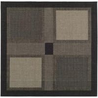 """Safavieh Lakeview Black/ Sand Indoor/ Outdoor Rug - 6'7"""" x 6'7"""" square"""