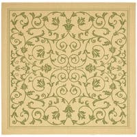 """Safavieh Resorts Scrollwork Natural/ Olive Green Indoor/ Outdoor Rug - 7'-10"""" x 7'-10"""" square"""