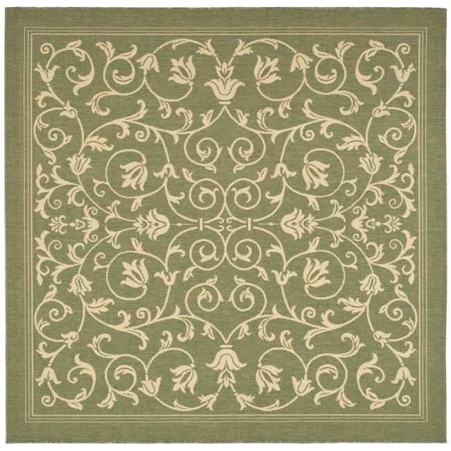 Safavieh Resorts Scrollwork Olive Green/ Natural Indoor/ Outdoor Rug (6' 7 Square)