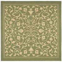 "Safavieh Resorts Scrollwork Olive Green/ Natural Indoor/ Outdoor Rug - 6'7"" x 6'7"" square"