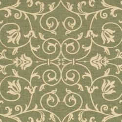 Safavieh Resorts Scrollwork Olive Green/ Natural Indoor/ Outdoor Rug (7'10 Square) - Thumbnail 2