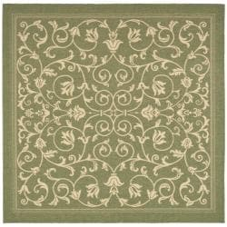 """Safavieh Resorts Scrollwork Olive Green/ Natural Indoor/ Outdoor Rug - 7'10"""" x 7'10"""" square - Thumbnail 0"""