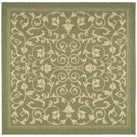 "Safavieh Resorts Scrollwork Olive Green/ Natural Indoor/ Outdoor Rug - 7'10"" x 7'10"" square"