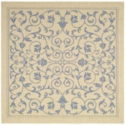 Safavieh Resorts Scrollwork Natural/ Blue Indoor/ Outdoor Rug (7'10 Square)