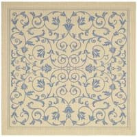 """Safavieh Resorts Scrollwork Natural/ Blue Indoor/ Outdoor Rug - 7'10"""" x 7'10"""" square"""