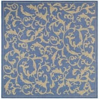 "Safavieh Mayaguana Blue/ Natural Indoor/ Outdoor Rug - 7'10"" x 7'10"" square"