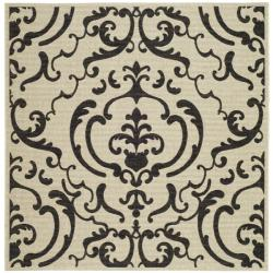 Safavieh Bimini Damask Sand/ Black Indoor/ Outdoor Rug (7'10 Square)