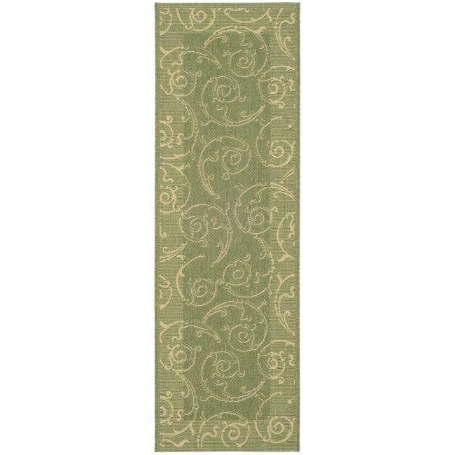 Safavieh Oasis Scrollwork Olive Green/ Natural Indoor/ Outdoor Runner (2'4 x 9'11)