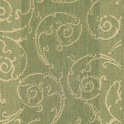 Safavieh Oasis Scrollwork Olive Green/ Natural Indoor/ Outdoor Runner (2'4 x 9'11) - Thumbnail 2