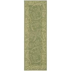 Safavieh Oasis Scrollwork Olive Green/ Natural Indoor/ Outdoor Runner (2'4 x 9'11)