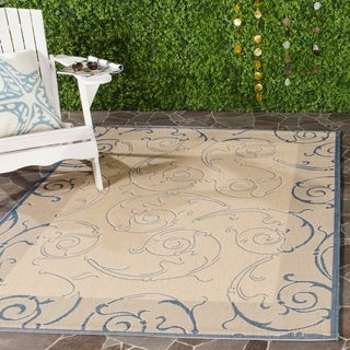 Safavieh Oasis Scrollwork Natural/ Blue Indoor/ Outdoor Rug (9' x 12')