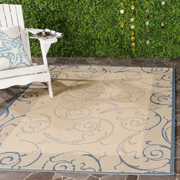 Safavieh Oasis Scrollwork Natural/ Blue Indoor/ Outdoor Rug - 9' x 12'