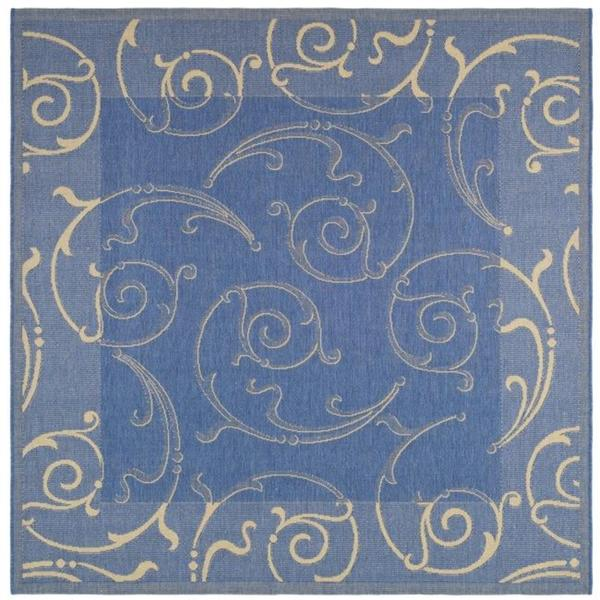 """Safavieh Oasis Scrollwork Blue/ Natural Indoor/ Outdoor Rug - 7'10"""" x 7'10"""" square"""