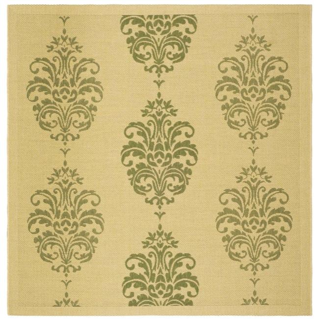 Safavieh St. Martin Damask Natural/ Olive Green Indoor/ Outdoor Rug (6'7 Square) - Thumbnail 0