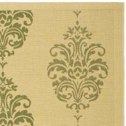 Safavieh St. Martin Damask Natural/ Olive Green Indoor/ Outdoor Rug (6'7 Square) - Thumbnail 1
