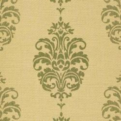 Safavieh St. Martin Damask Natural/ Olive Green Indoor/ Outdoor Rug (6'7 Square) - Thumbnail 2