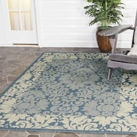 "Safavieh Kaii Damask Blue/ Natural Indoor/ Outdoor Rug - 7'10"" x 7'10"" square"