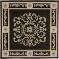 "Safavieh Sunny Medallion Black/ Sand Indoor/ Outdoor Rug - 6'7"" x 6'7"" square"